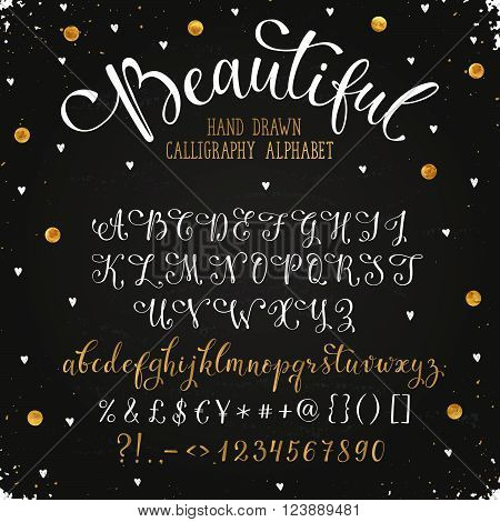 Elegant calligraphy letters with florishes. Handwritten alphabet with golden dots on blackboard. Uppercase lowercase letters numbers and symbols. Hand drawn modern script.
