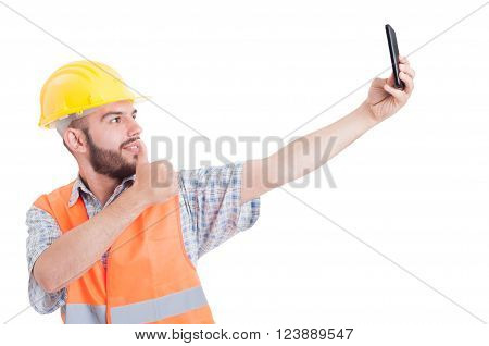Engineer Taking A Selfie Showing Like
