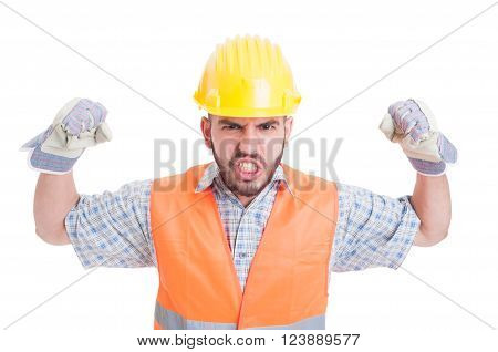 Man construction worker or builder acting aggressive