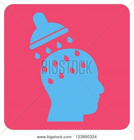 Brain Washing vector pictogram. Image style is bicolor flat brain washing pictogram symbol drawn on a rounded square with pink and blue colors.