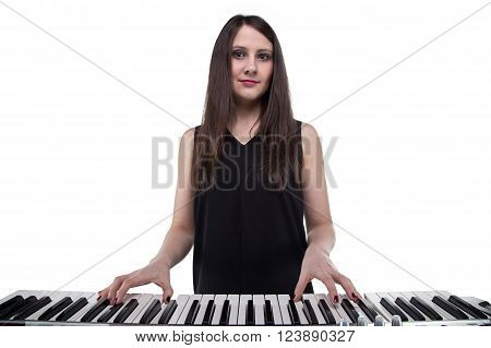 Smiling woman and synthesizer on white background