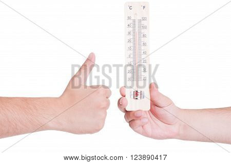 Good temperature concept with like gesture. Hot summer season concept