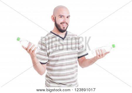 Smiling Man Holding Two Bottles Of Water