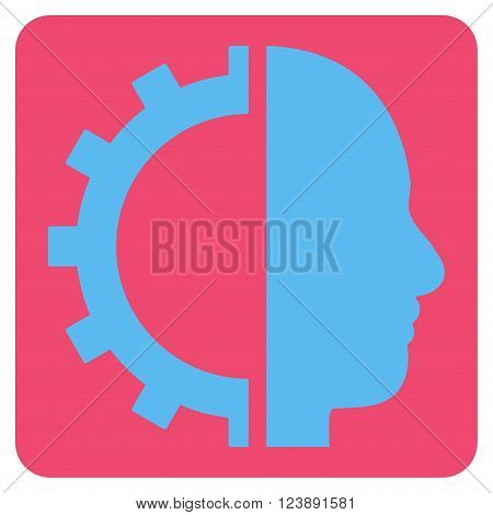 Cyborg Gear vector pictogram. Image style is bicolor flat cyborg gear iconic symbol drawn on a rounded square with pink and blue colors.