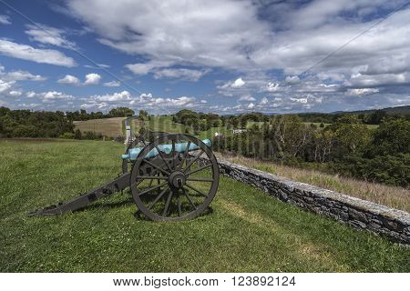 An artillery piece rests at the site of the final attack of the battle of Antietam during the U.S. Civil War.