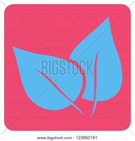 Flora Plant vector icon symbol. Image style is bicolor flat flora plant iconic symbol drawn on a rounded square with pink and blue colors.