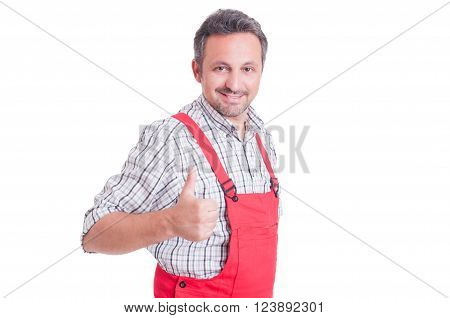 Mechanic Or Electrician Showing Like Or Thumb-up Gesture