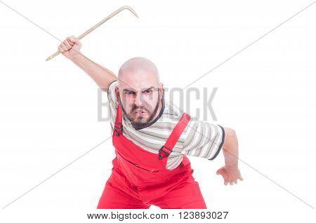 Angry Mechanic Beeing Aggressive With A Big Crowbar