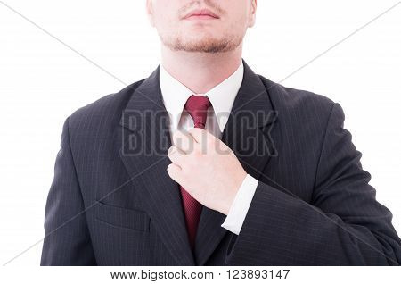 Young Accountant Financial Manager Fixing Elegant Tie Or Necktie