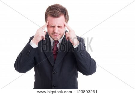 Businessman, Accountant Or Financial Manager Having A Migraine