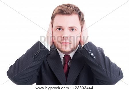 Businessman, Accountant Or Financial Manager Covering His Ears