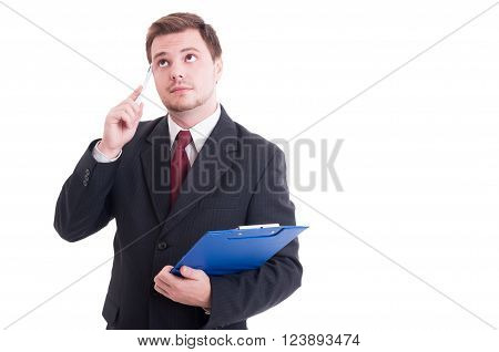 Smart Accountant Holding Clipboard And Wondering