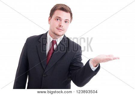 Salesman Or Marketing Manager Holding Something On Palm