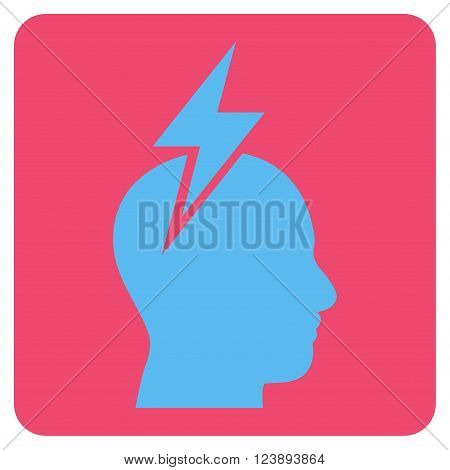 Headache vector icon. Image style is bicolor flat headache pictogram symbol drawn on a rounded square with pink and blue colors.