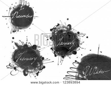 Set of names of winter month: december january february drawn by hand with liquid ink dye in freehand style. Large raster illustration grainy with blobs and brush smears isolated on white.