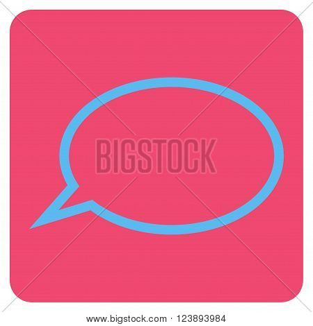 Hint Cloud vector icon symbol. Image style is bicolor flat hint cloud pictogram symbol drawn on a rounded square with pink and blue colors.
