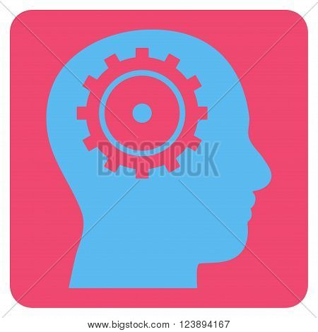 Intellect vector icon symbol. Image style is bicolor flat intellect iconic symbol drawn on a rounded square with pink and blue colors.