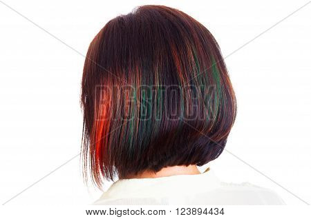 Female dyed hair style with colorful strands behind picture isolated on white concept