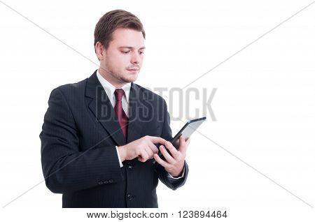 Modern Accountant Or Financial Manager Using Wireless Tablet