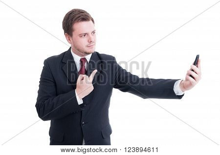 Businessman Showing Middle Finger On Video Call
