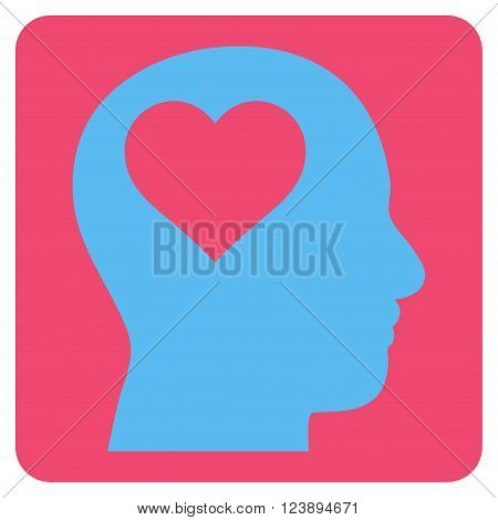Lover Head vector pictogram. Image style is bicolor flat lover head iconic symbol drawn on a rounded square with pink and blue colors.