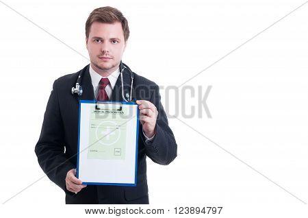 Medic Or Doctor Showing Medical Prescription