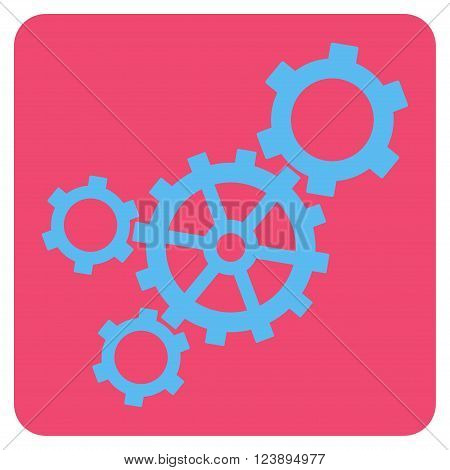 Mechanism vector pictogram. Image style is bicolor flat mechanism pictogram symbol drawn on a rounded square with pink and blue colors.