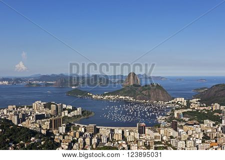 Day view of Sugar Loaf mountain and Botafogo Beach in Rio de Janeiro, Brazil. ** Note: Visible grain at 100%, best at smaller sizes
