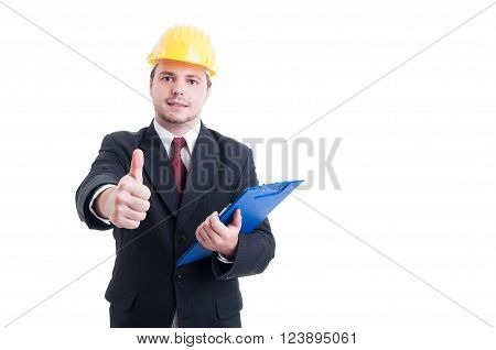 Construction Inspector With Suit Hardhat And Clipboard Showing Like