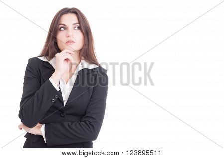 Beautiful And Smart Business Woman Thinking Isolated On White