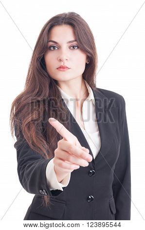Business woman showing index finger as no decline or refuse gesture isolated on white background