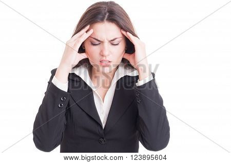 Young Business Woman Suffering Head Pain Or Migraine