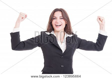 Happy And Successful Business Woman, Entrepreneur Or Financial Manager