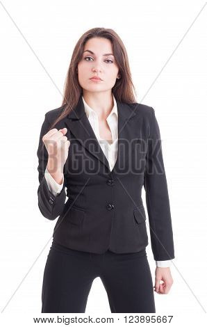 Young Sexy Successful And Powerful Business Woman Showing Fist
