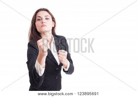 Young Business Woman Acting Aggressive Showing Fists