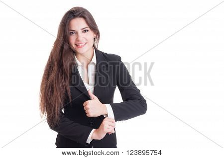 Long Hair Business Woman Adjusting Suit Sleeve