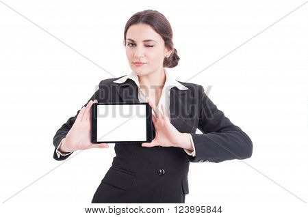 Beautiful Young Business Woman Showing Tablet With Blank Display