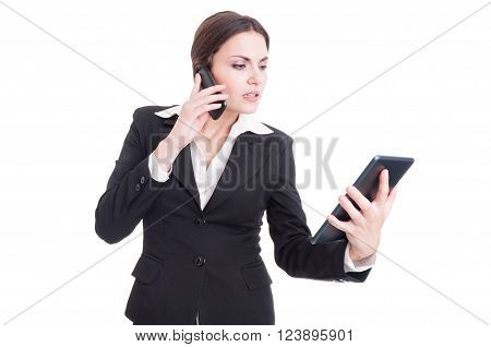 Bossy And Busy Young Business Woman Using Tablet And Phone