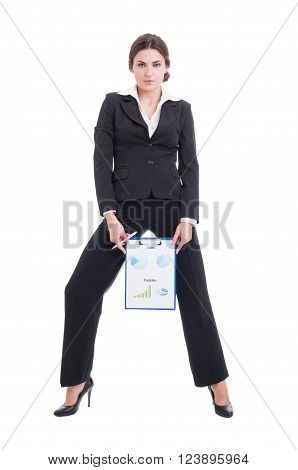 Young And Sexy Sales Woman Showing Growing Profit Charts