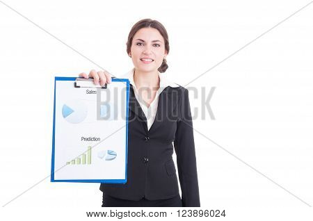 Young Sales Woman Showing Financial And Profit Charts On Clipboard