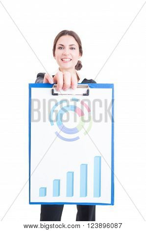 Happy And Proud Sales Woman Holding Clipboard With Financial Charts