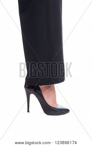 Woman Foot Or Leg Wearing High Heel Black Leather Shoe