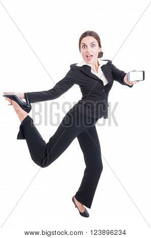 Modern Technology Sales Woman Acting Excited, Enthusiastic, Cheerful And Joyful