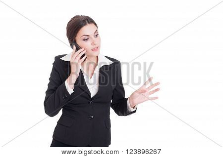 Young Bossy Business Manager Woman Talking On The Phone
