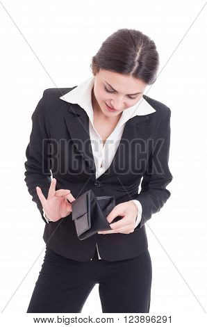 Young Business Woman Checking Empty Wallet