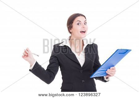 Happy Smiling Woman Supervisor Or Inspector Holding Clipboard And Pen