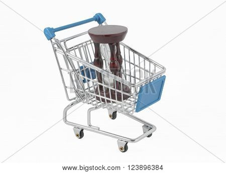 Time for Shopping (a shopping cart with an hour-glass isolated on white)