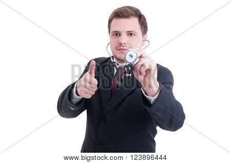 Medical Doctor Holding Stethoscope And Showing Like And Thumb-up Gesture