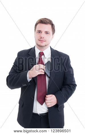 Cash Payment Concept With Businessman Pulling Wallet From Suit Jacket
