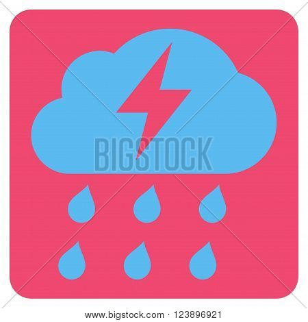 Thunderstorm vector symbol. Image style is bicolor flat thunderstorm icon symbol drawn on a rounded square with pink and blue colors.